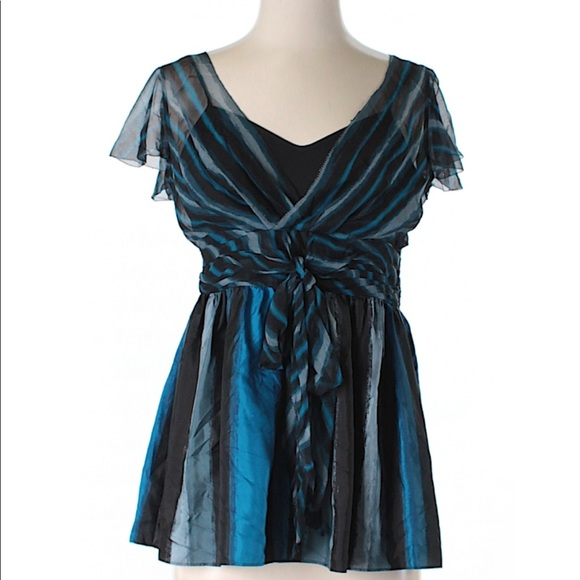 DKNYC Tops - DKNYC sheer black blue striped silk top sz 6